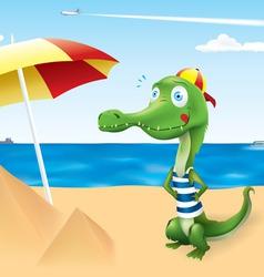 funny crocodile vacation vector image