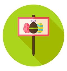 Garden Sign with Easter Eggs Circle Icon vector image