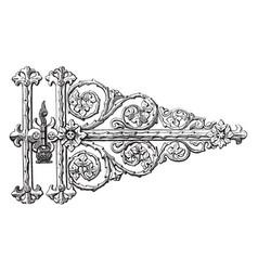 Gothic hinge scrolling leaf vintage engraving vector
