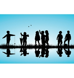 Group of children silhouettes playing outdoor near vector image
