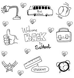 Hand draw element school in doodle vector
