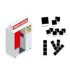 Isometric compact photo booth and photo frames vector