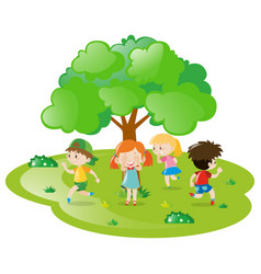 Kids playing hide and seek in the park vector