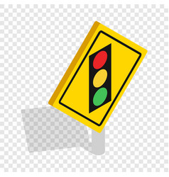 Light traffic sign isometric icon vector