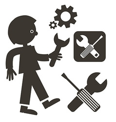 Man with wrench icon tools symbols screwdriver - vector