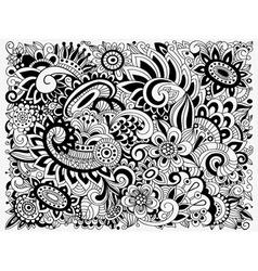 Monochrome doodle floral pattern vector