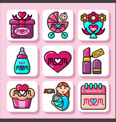 Mothers day icons 1 vector