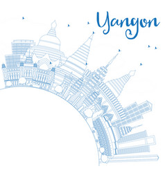 Outline yangon skyline with blue buildings and vector