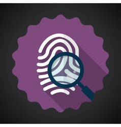 Police Fingerprint with Zoomer Flat icon vector image