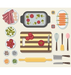 Process of cooking delicious food vector image vector image