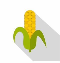 ripe corncob icon flat style vector image
