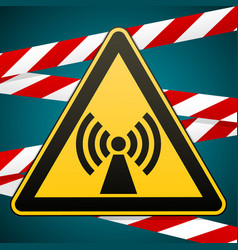 Safety sign caution danger electromagnetic field vector