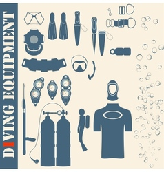 set web icons diving and mask vector image vector image