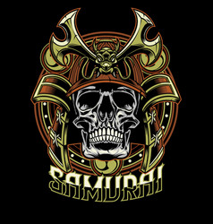Skull of samurai warrior vector