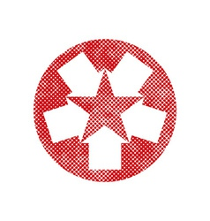 Star icon created with five arrows symbol with vector image
