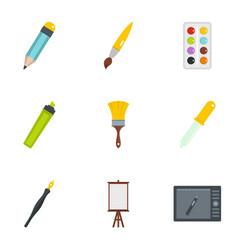 stationery icons set flat style vector image