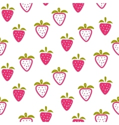 Strawberry pink and white seamless pattern vector image