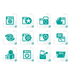 Stylized internet website and security icons vector