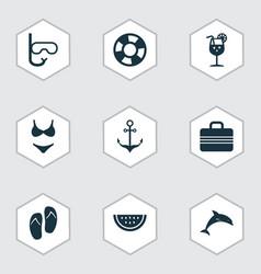 Sun icons set collection of tube baggage bikini vector
