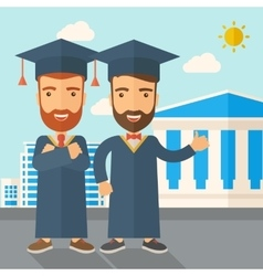 Two men wearing graduation cap vector image