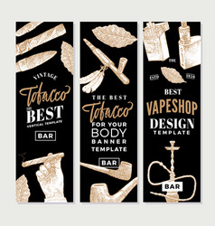 Vintage tobacco vertical banners vector