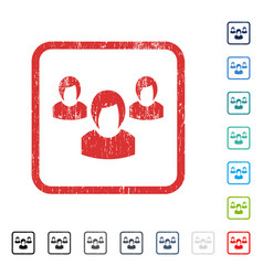 Woman group icon rubber watermark vector