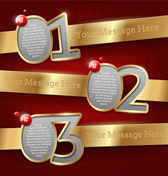 Design templates with numbered golden banners vector