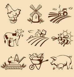Farm emblems vector image