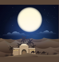 caravan of camels in sahara vector image