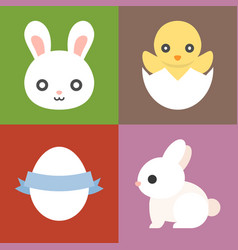 Easter icons set cute animal vector
