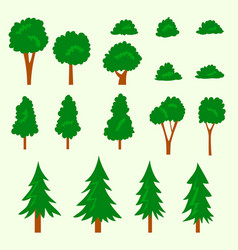 cartoon doodle tree and bush in flat simple style vector image