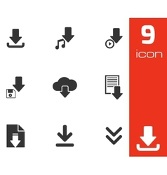 Black download icons set vector