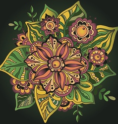 Beautiful hand drawn flower with many details vector