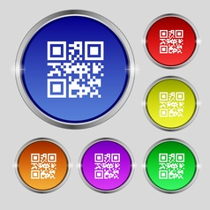 Qr code icon sign round symbol on bright colourful vector