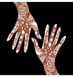 Mehendi Hands On Black Background vector image