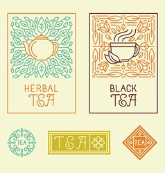 Tea packaging labels and badges in trendy linear vector