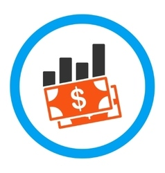 Sales bar chart rounded icon vector