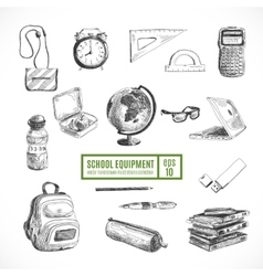 Hand drawn set of school items back to vector