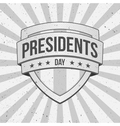 Presidents day shield on striped grunge background vector