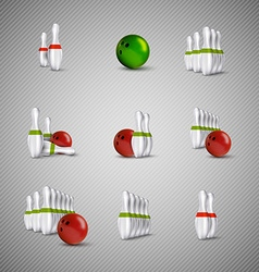 Bowling skittles and bowls as design elements vector
