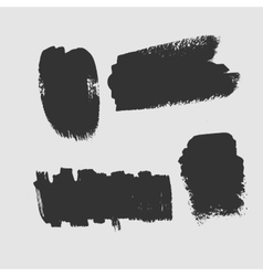 Set of grunge textured brush strokes on a white vector
