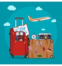 Airplane flying above tourists luggage vector