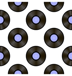 Retro vynils sound disc seamless pattern vector