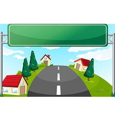 A long road and a green signboard vector image vector image
