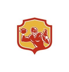 American football quarterback shield retro vector