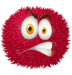 Angry face on fluffy ball vector