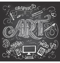 Art hand-lettering typography on chalkboard vector image