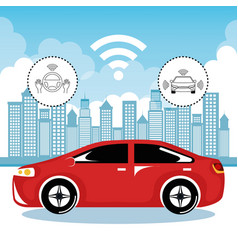 Autonomous cars and wireless communication system vector