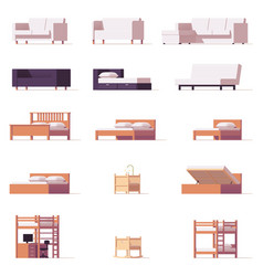 Beds and sofas set vector