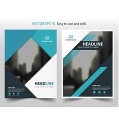 blue black triangle annual report brochure design vector image
